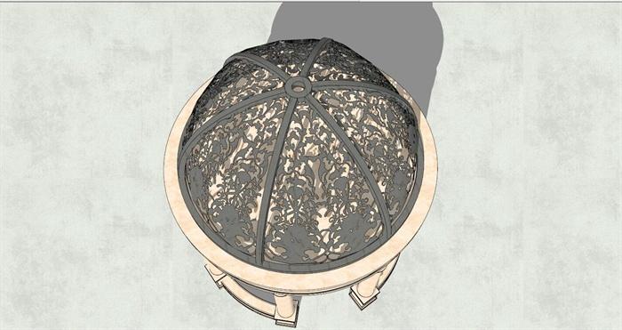 精细欧式圆形铁艺雕花铁艺亭子su模型[原创]