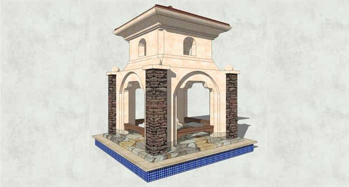 古典欧式双层景观亭子su模型[原创]