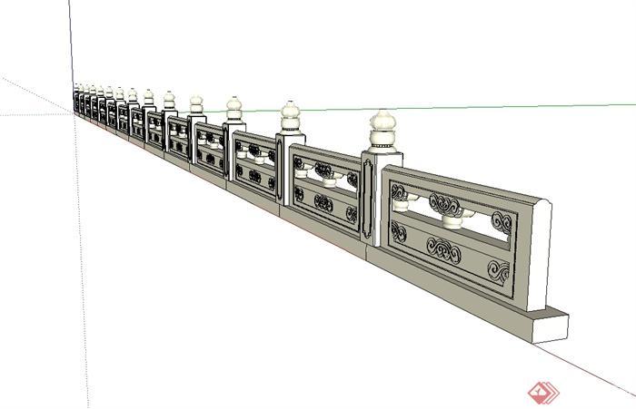 现代中式护城河栏杆设计su模型[原创]图片