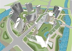 滨海度假小区建筑设计SU(草图大师)模型
