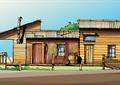 住宅建筑,居住建筑,小木屋,单层建筑,栏杆,植被