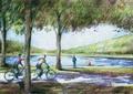 自行车道,河流景观,常绿乔木,滨水景观