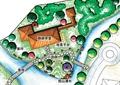 茶室环境,河流景观,园路,景桥,植被,亭廊