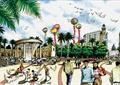 广场景观,气球,广场铺装,柱廊,景观树