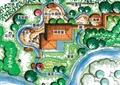 公园景观,茶室,河流景观,草坪,景观树,道路