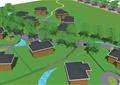 住宅景观,住宅建筑,道路,景观树,草坪,河流景观