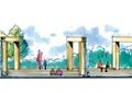水景廊架,台阶,景观树,住宅景观