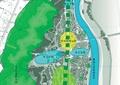 公园景观,河流,道路