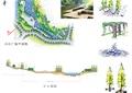滨水景观,道路,行道树,花架,木平台,木栈道,树池