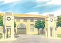 入口景觀,大門,門柱,建筑,常綠喬木,道路,學校景觀