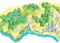 公园景观,河流景观,道路,植被