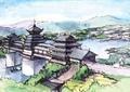 廊橋,古建筑,水體景觀,植被