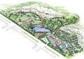 小镇规划,河流景观,道路,建筑,植被