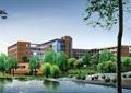 滨水景观,常绿乔木,学校建筑