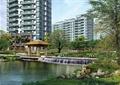 小区景观,凉亭,跌水景观,景石,高层住宅