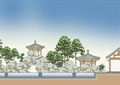 亭子,景石,假山,水景,常绿乔木,住宅景观