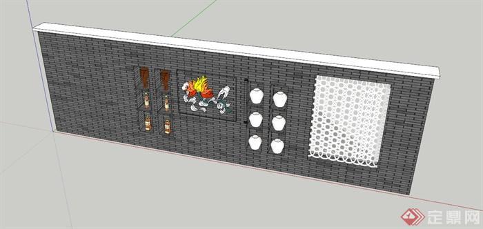 中式装饰景墙设计SU模型(1)