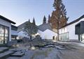 庭院景观,卵石水池,地面铺装,台阶,落叶乔木,矮墙,古建筑