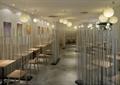 隔断钢珠,餐桌椅,走廊,地面铺装,吊灯,快餐厅