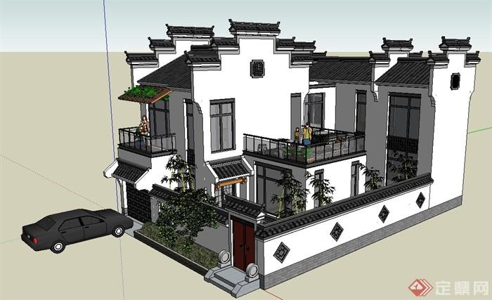 两层新中式徽派别墅建筑设计SU模型(1)