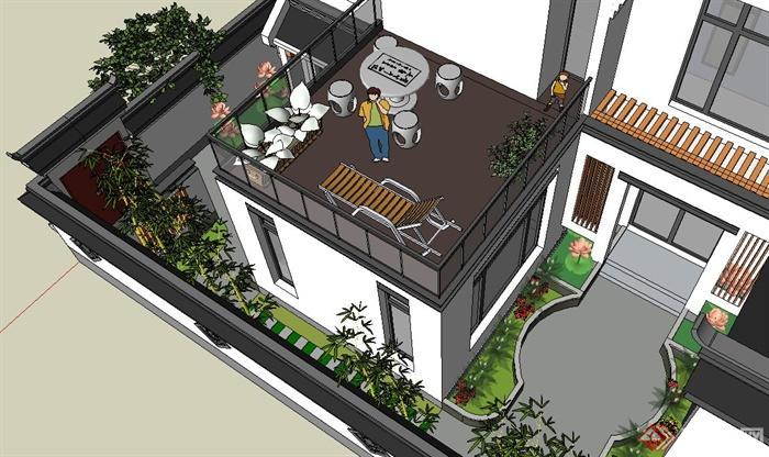 两层新中式徽派别墅建筑设计SU模型(5)