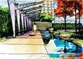 廊架,河流景观,植被,建筑,住宅景观