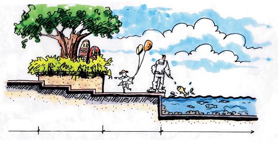 大乔木,水池景观,花台,矮墙,台阶