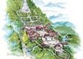 園林景觀,古建筑,道路,河流景觀,植被,景石