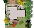 庭院景观,园路,地面铺装,汀步,停车场,汽车,常绿乔木,住宅景观