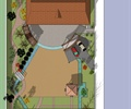 花架,停车场,汽车,园路,亭子,溪流,植被,住宅建筑,住宅景观,庭院景观