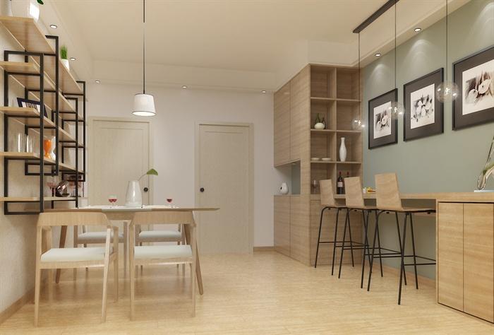 北歐風客廳餐廳室內設計su模型(含效果圖)