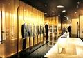 衣服架,形象墙,展示桌,地面铺装,天花吊顶,服装店