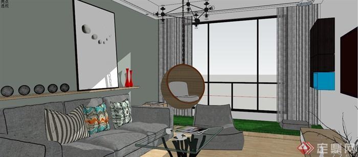 北歐風客廳餐廳室內設計su模型(含效果圖)(7)