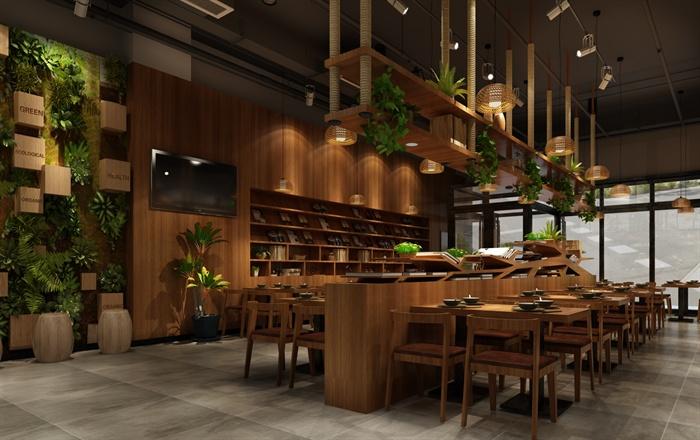 现代某面馆室内装修设计CAD方案图与JPG效果图6