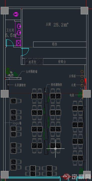 现代某面馆室内装修设计CAD方案图与JPG效果图(7)
