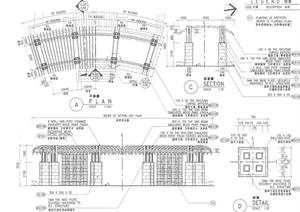 园林景观节点弧形廊架设计PDF图