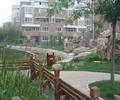 园路景观,景石,假山,草坪,木栏杆,水池景观,住宅景观