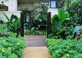 花鏡景觀,隨沙鋪裝,院門,住宅建筑,花卉植物,落葉喬木,住宅景觀