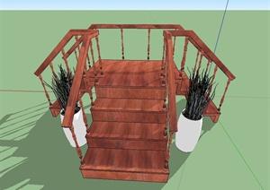 室内木质三叉楼梯设计SU(草图大师)模型