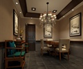 吊灯,餐桌椅,天花吊顶,地面铺装,装饰画,边柜,装饰摆件,餐厅