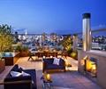 沙發,茶幾,壁爐,種植池,欄桿,灌木植物,露臺花園,屋頂花園,庭院景觀