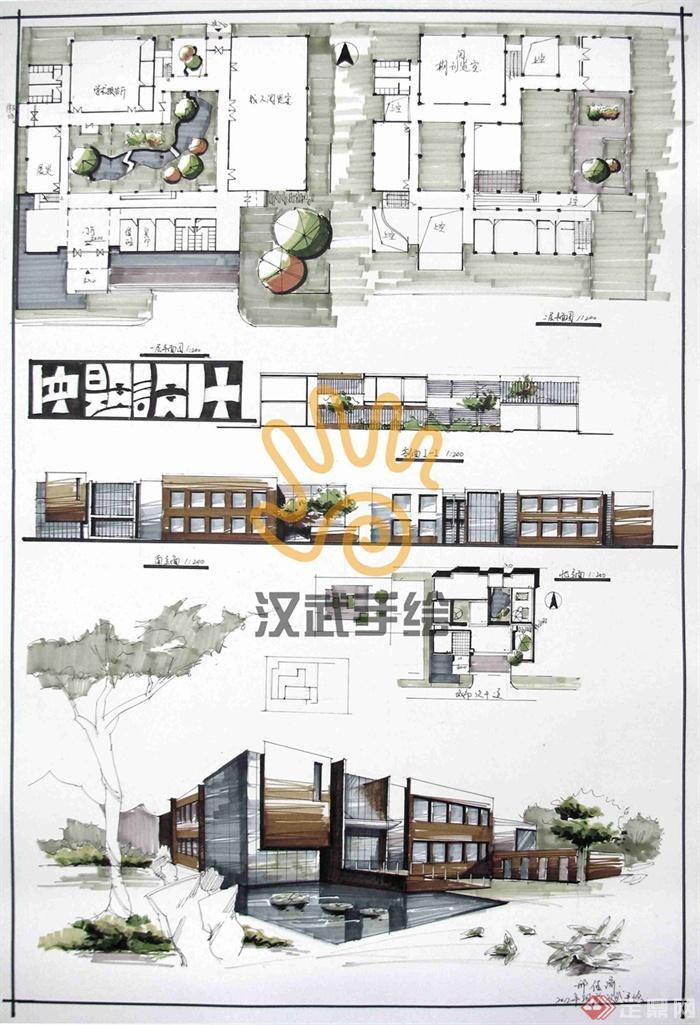 私家别墅花园设计图_汉武手绘建筑快题作品-图书馆阅览室文化建筑-设计师图库