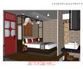 双人床,隔断墙,地面铺装,洗手台,单人客房,客栈