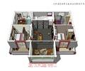 双人房,单人房,休息区,楼梯间,客栈空间,客栈模型