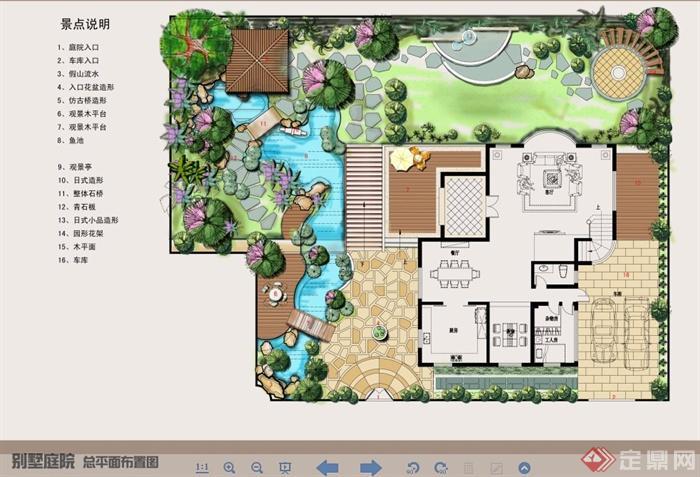 某别墅庭院景观彩色平面图(1)
