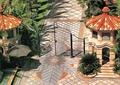 入口景观,铁艺大门,门卫室,亭子,地面铺装,景观树,住宅景观