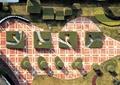 植物小品,植物墙,园路,地面铺装,草坪,住宅景观