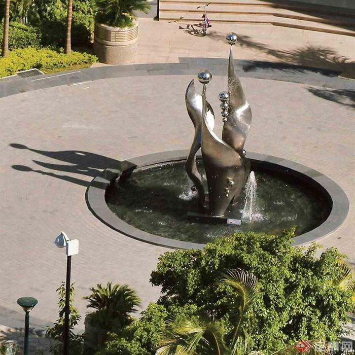 喷泉水景,喷泉水池,雕塑水景,抽象雕塑,小品