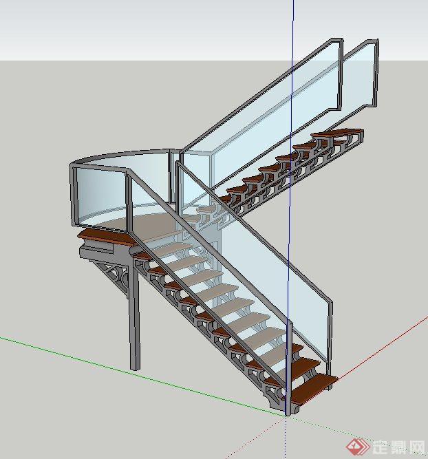 现代室内玻璃旋转楼梯设计SU模型(1)