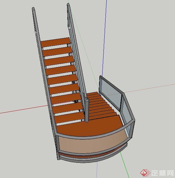 现代室内玻璃旋转楼梯设计SU模型(2)